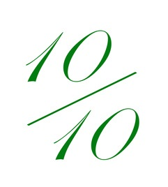 Note de 10 sur 10 verte